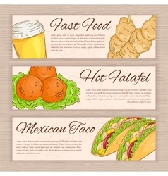set of hand drawn fast food banners with vector image