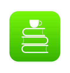 stack of books and white cup icon digital green vector image