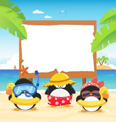 Summer Penguins With Billboard vector