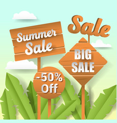Summer sale paper cut out banner with labels vector