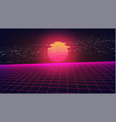 Synthwave glitch sunset background retro vector