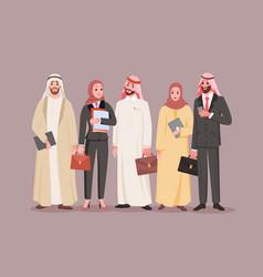 Team saudi office workers arab company vector