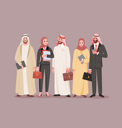 team saudi office workers arab company with vector image