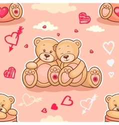 teddy bears in love samless vector image