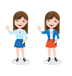 Teen girl with smartphone and welcome gesture vector