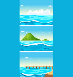 Three scenes of ocean at daytime vector