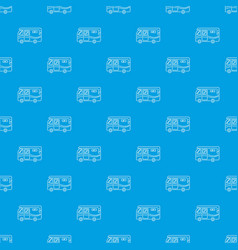 traveling camper van pattern seamless blue vector image
