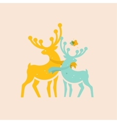 Two colored deer vector
