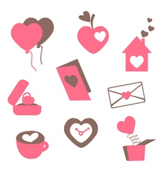 Valentines love icons vector