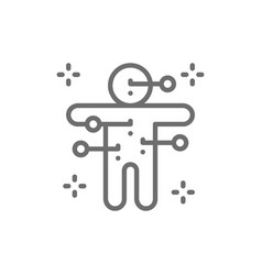 voodoo doll with needles line icon vector image
