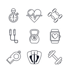 White background with monochrome icons of healthy vector