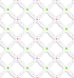 White perforated ornament with green pink seamless vector