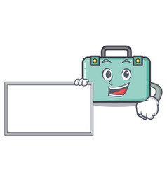 With board suitcase character cartoon style vector