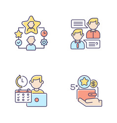 Work benefits rgb color icons set vector