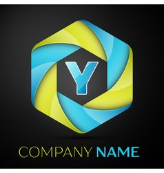 Y Letter colorful logo in the hexagonal on black vector