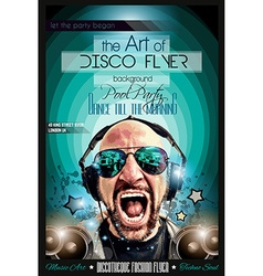 Disco Night Club Flyer layout with DJ shape vector image