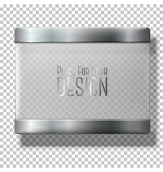 Opaque transparent glass plate with metal vector image