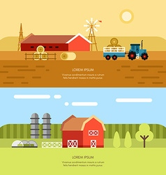 Rural Farm Landscape Set of Flat Style Background vector image