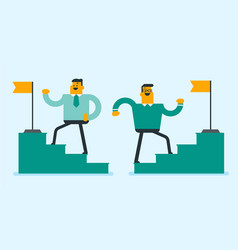 two businessmen running up to the top of stairway vector image