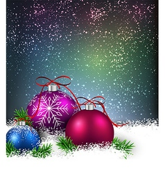 Winter background with christmas balls vector image