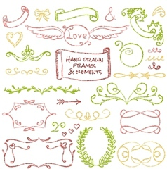 Hand-drawn elements set vector image