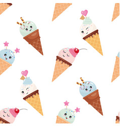 kawaii ice cream cone seamless pattern background vector image