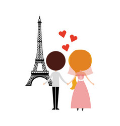 married couple in the eiffel tower avatar vector image
