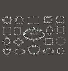 set of silver vintage floral frames and monograms vector image vector image