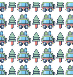 van with bags and pine tree to travel vector image
