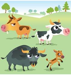 Cartoon cow set cows bull and calf bull vector image vector image