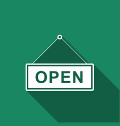 open door sign flat icon with long shadow vector image vector image