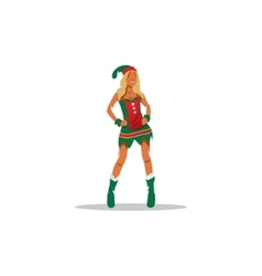Sexy Girl in suit of Christmas elf sign vector image vector image