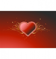 shiny red heart vector image vector image