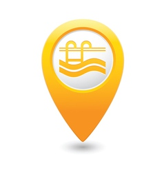 swimmingpool icon yellow map pointer vector image