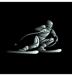 Giant Slalom Ski Racer stippled silhouette vector image