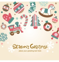 Retro Christmas card with cute ornaments vector image