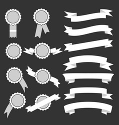 set of white ribbons and stamps vector image