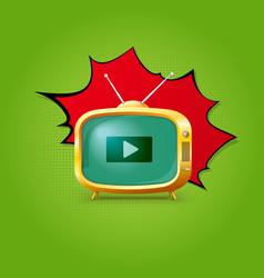TV on pop-art background vector image vector image