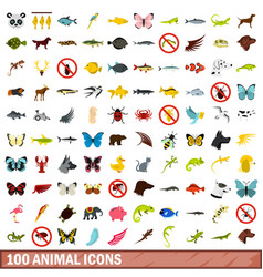 100 animal icons set flat style vector image