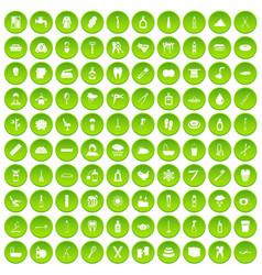 100 hygiene icons set green circle vector