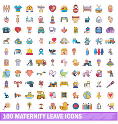100 maternity leave icons set cartoon style vector