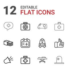 12 emergency icons vector