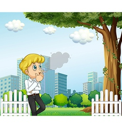 A man smoking during his breaktime vector image
