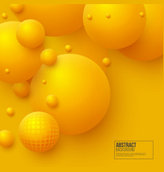 abstract floating spheres background 3d yellow vector image