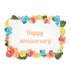 anniversary card banner with flowers vector image vector image