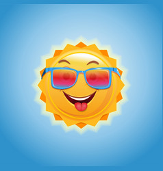 anthropomorphic cartoon sun in sunglasses vector image