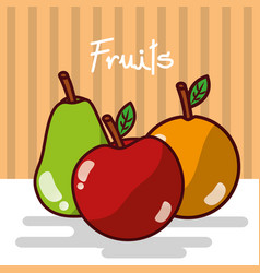 apple and orange pear fruits fresh juicy collage vector image