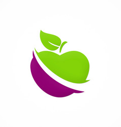 apple fruit vegetable logo vector image