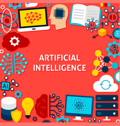 Artificial intelligence paper template poster vector