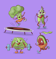 athletes vegetables cartoon t-shirt vector image
